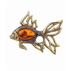 Брошь Рыбка Золотая 918.4