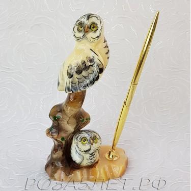 SELENIT-O.N. Совы полярные на ветке с ручкой